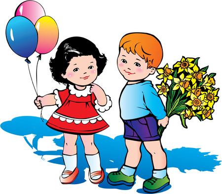 Beautiful children with big bouquet of flowers. Happy childhood. Vector