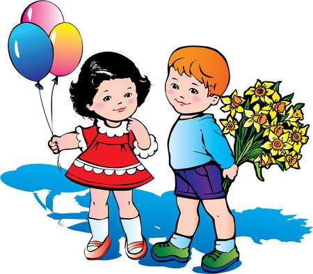 kid vector: Beautiful ni�os con gran ramo de flores. Infancia feliz.