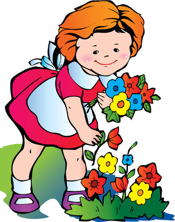 Fine little girl gather flowers. Happy childhood. Vector