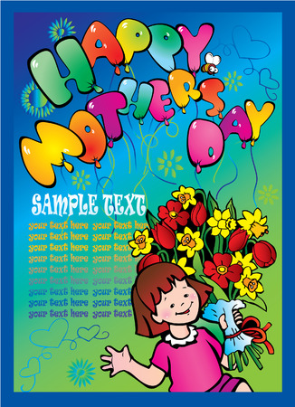 Happy Mothers Day Card. Vector