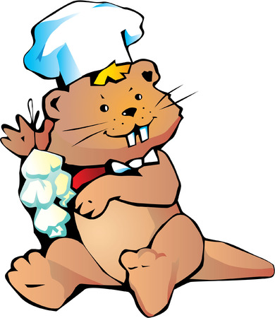 Happy cook beaver with garlic. Vector
