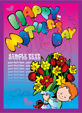 Happy boy with the birthday bouquet and sample text Vector