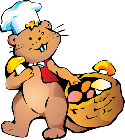 Happy cook beaver with basket of mushrooms. Vector