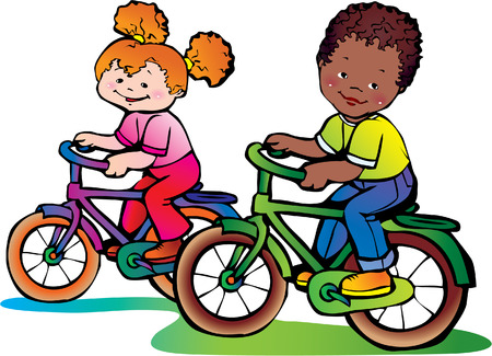 Nice girl and boy on the bikes. Vector
