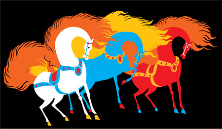 free vector art: Dream horses.