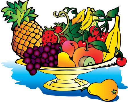 fruited: Fresh fruits isolated on a white background