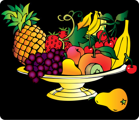 Fresh fruits isolated on a black background Vector