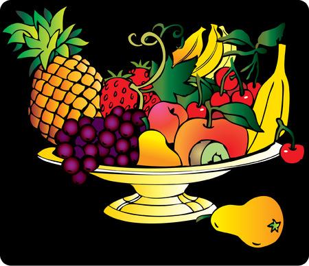 fruited: Fresh fruits isolated on a black background Illustration