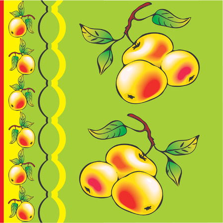 Fresh apples with green leaf Vector