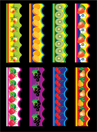 Fruit and berries backgrounds and elements for design. Vector