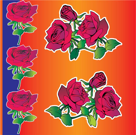Beautiful red roses on a orange background. Vector