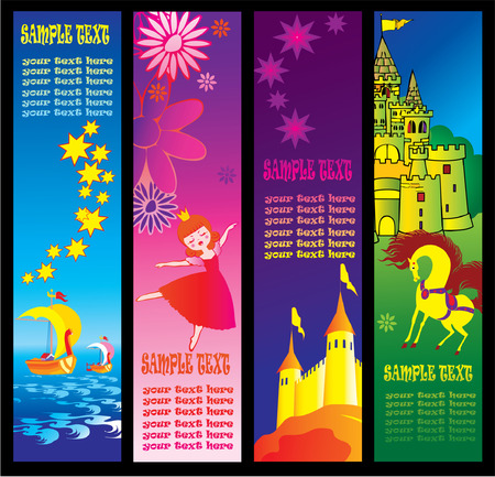 Fairy-tale banners with sample text. Vector art-illustration. Illustration