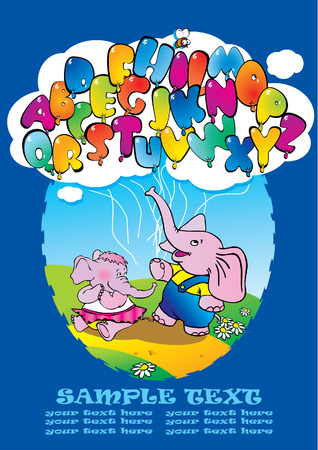 Two elephants with alphabet balloons. Vector art-illustration. Stock Vector - 5374016