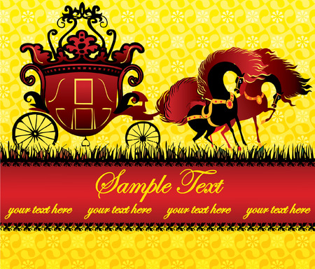 Fairy-tale carriage and horses with sample text. Vector art-illustration. Vector