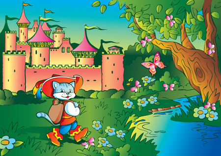 Puss in Boots on landscape background. Fairy-tale. Vector art-illustration.