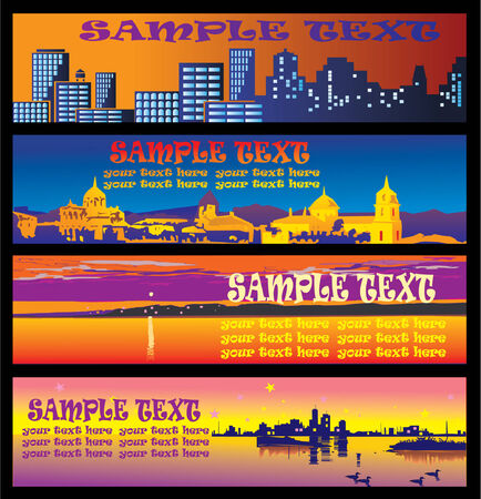 Evening town banners with sample text. Vector art-illustration. Vector