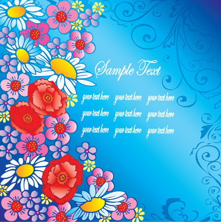 buttercup  decorative: Beautiful flowers on a blue background with sample text. Vector art-illustration.