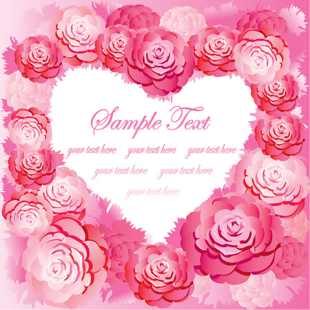 Silhouette of the heart made of roses and sample text. Pink gamma. Vector art-illustration. Illustration