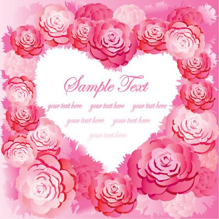원예: Silhouette of the heart made of roses and sample text. Pink gamma. Vector art-illustration. 일러스트