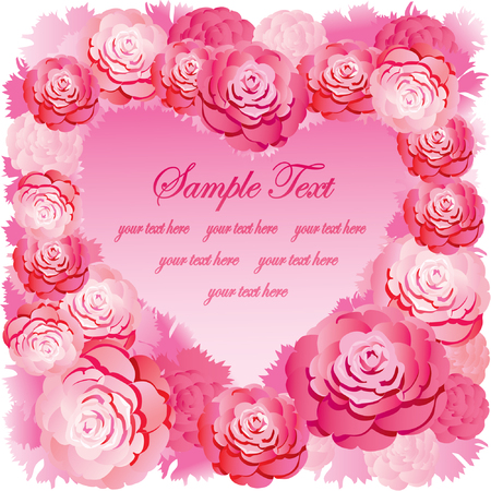 Silhouette of the heart made of roses and sample text. Pink gamma. Vector art-illustration. Vector