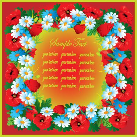 Beautiful flowers frame on a red background with sample text. Vector art-illustration. Vector