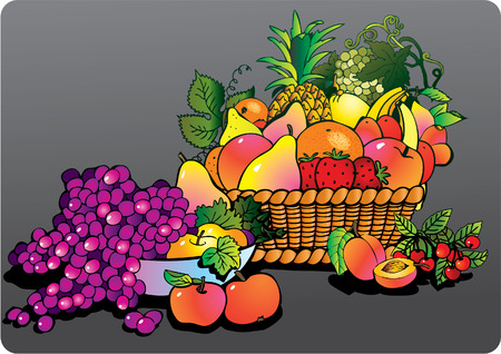 Beautiful juicy fruits with basket on a grey background. Healthy food. Vector art-illustration. Stock Vector - 5374031