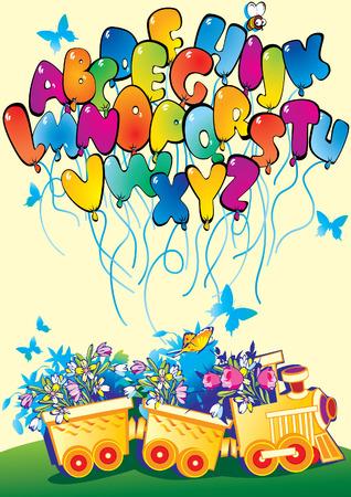 zug cartoon: Cartoon-Zug mit Alphabet und Blumen. Abbildung-Vektor Kunst.  Illustration