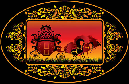 Fairy-tale carriage in the floral oval. Vector art-illustration. Vector