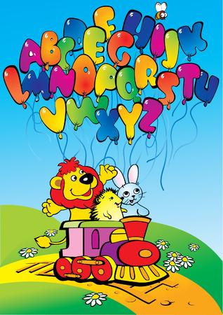 Cartoon train with lion, hedgehog, hare and alphabet. Back to school. Vector art-illustration. Stock Illustratie