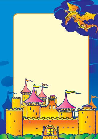 Magic castle, dragon and sample text. Vector art-illustration. Vector
