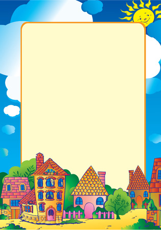 Beautiful town in the sunny weather with sample text. Vector art-illustration. Vector