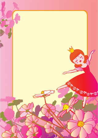 Princess dancing on the flowers and sample text. Fairy-tale. Vector art-illustration. Иллюстрация