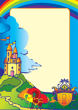 Picture with the castle, carriage, horses and sample text. Fairy-tale. Vector art-illustration. Vector