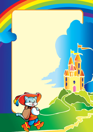 Puss in Boots comes to the castle on the way. Fairy-tale. Vector art-illustration. Vector