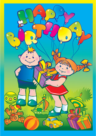 Glad children with birthday gifts. Happy childhood. Vector art-illustration. Vector