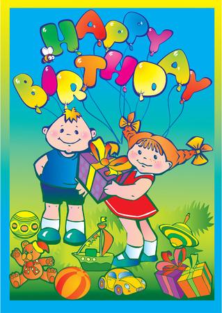 ni�os contentos: Ni�os contentos con regalos de cumplea�os. Infancia feliz. Vector de arte-ilustraci�n.