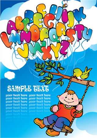Glad boy with alphabet and sample text. Happy childhood. Vector art-illustration. Vector