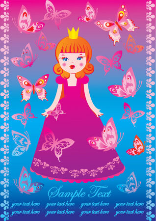 Beautiful princess with butterflies and sample text. Fairy-tale. Vector art-illustration. Vector