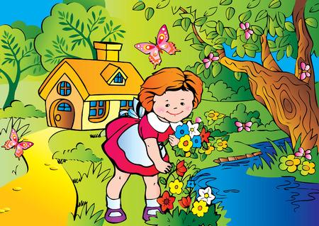 Buena chica poco recoger flores. Infancia feliz. Vector art-ilustración.