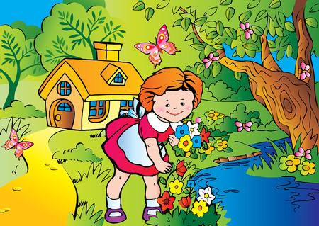 Fine little girl gather flowers. Happy childhood. Vector art-illustration.