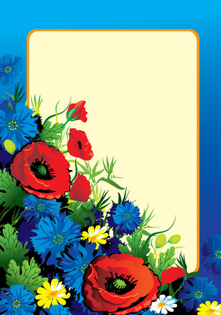 Beautiful flowers with sample text. Vector art-illustration. Vector