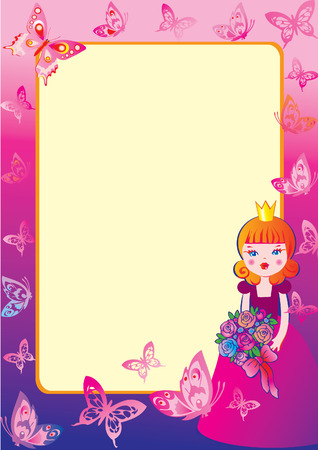 Princess with flowers and butterflies.Sample text. Fairy-tale. Illustration
