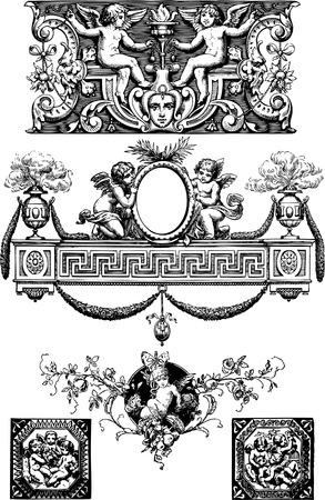 Cupido e design elementi su sfondo bianco.  Vettoriali