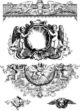 Cupid and design elements on white background.