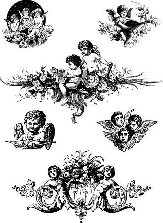 Cupido y elementos de diseño vectorial. Ilustración de vector