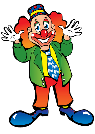 Funny red-haired clown on a white background. Vector art-illustration. Illustration