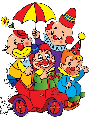 Funny clowns in the car on a white background. Vector art-illustration. Vector