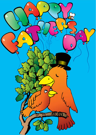 paternity: Two birds sitting on a branch. Happy Fathers Day. Vector art-illustration.