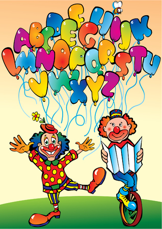Funny clowns with alphabet in the form of letters. Vector art-illustration. Vector