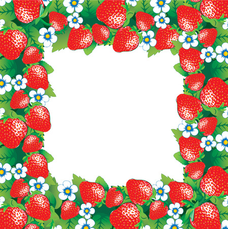 Beautiful strawberry frame and sample text. Healthy food. Vector art-illustration.